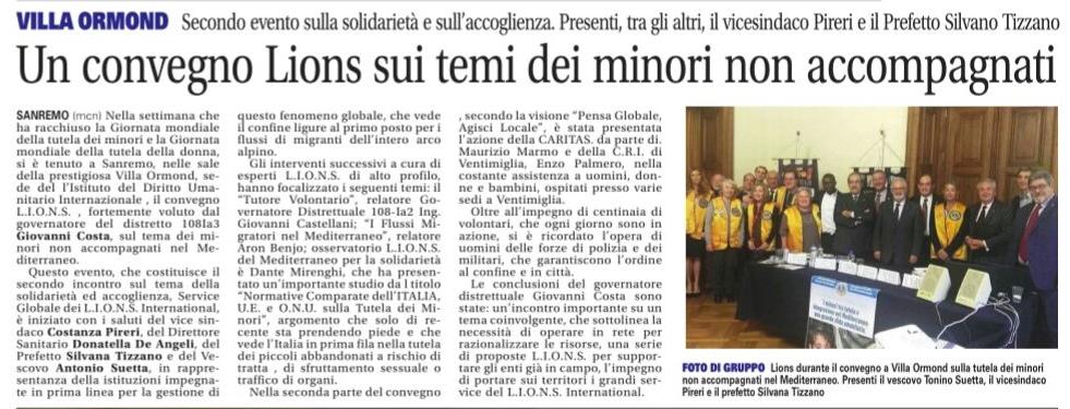 Convegno sui minori migranti non accompagnati a Villa Ormond (La Riviera del 30.11.17)