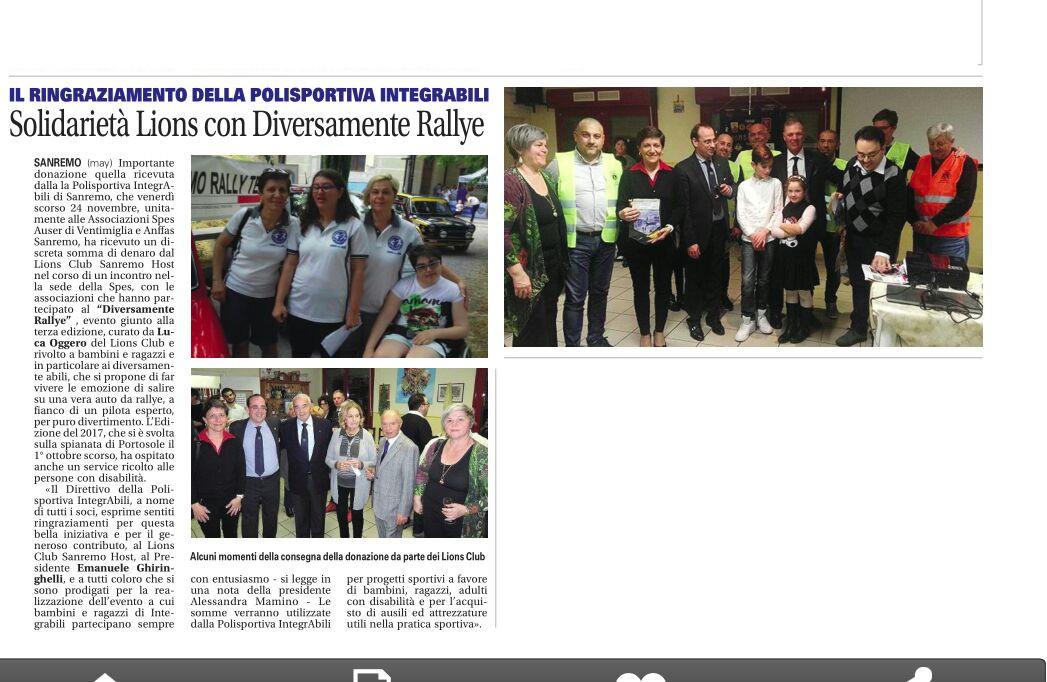 Alla polisportiva IntegrAbili una donazione del LC Sanremo Host (La Riviera, 30.11.17)