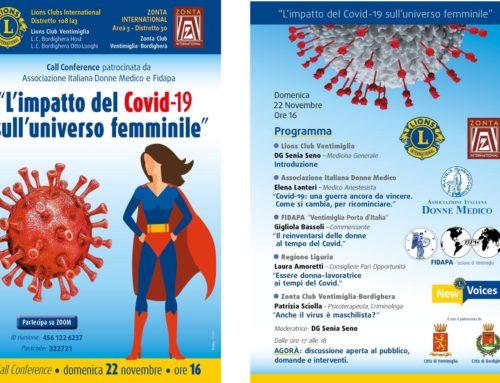 """Il 22 novembre call conference su Zoom: """"L'impatto del Covid19 sull'universo femminile"""""""