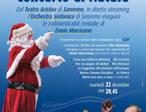 Il 22 dicembre il Concerto di Natale dal teatro Ariston di Sanremo sulle note del M° Ennio Morricone