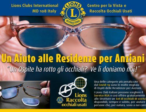Gli occhiali usati Lions per le RSA